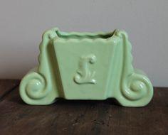 Green Vintage Planter Mint Wedding Table Setting Baby Nursery Girls Boys Room Decor Fredericksburg Pottery Mid Century Modern $9