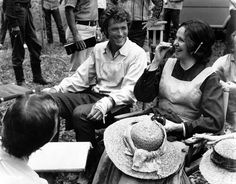 Clint Eastwood and Geraldine Page have a good time between takes of The Beguiled