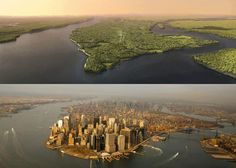 """MANHATTAN 1609 vs. 2009: Natural Wonder to Urban Jungle    Before it was an urban jungle, Manhattan was home to the Lenape Indians, who called the island Mannahatta, or """"land of many hills."""""""