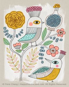 Spring Birds and Flowers - 8 x 10 Print