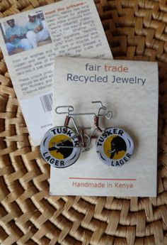 Recycled Beer Cap Bicycle Pin handmade in Kenya, Fair Trade $5.99