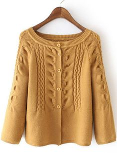 Product name: Yellow Cabel Knit Button Front Sweater at SHEIN, Category: Sweaters Long Sweaters For Women, Cardigan Sweaters For Women, Cardigans For Women, Cable Knit Cardigan, Sweater Cardigan, Yellow Sweater, Brown Sweater, Ladies Cardigan Knitting Patterns, Cardigan Fashion
