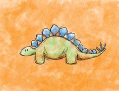 Dinosaur (Stegosaurus) Art Print for Children's Room/ Nursery...8x10