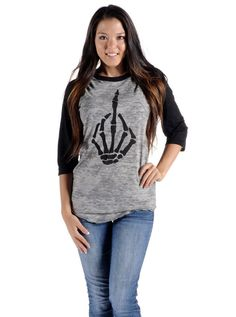 "Women's ""Fingered"" Burnout Baseball Tee by Angry Blossom (Grey/Black) #InkedShop #tee #top #womenswear #baseballtee #womens"