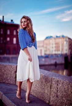 @roressclothes closet ideas #women fashion White Midi Skirt and Blue Stripe Shirt