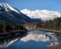 Nenana River - This is the river we white rafted on - in a more turbulent area, of course.  Photo by Jamie McKeller