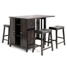 Baxton Studio 5-Piece Aurora Modern Pub Table Set with Cabinet Base, Dark Brown:Amazon:Home & Kitchen