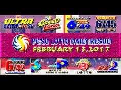 PCSO LOTTO RESULTS FEBRUARY 13, 2017 (EZ2, SWERTRES, 4D, 6/45 & 6/55) Lotto Results, Oita, February 6th, Youtube, Draw, To Draw, Sketches, Painting, Youtubers