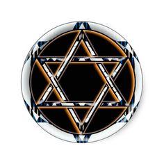 RETRO STAR OF DAVID ROUND STICKER