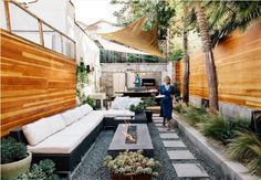 long and narrow patio space