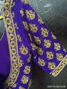 Beautiful royal blue color designer bridal blouse with hand embroidery gold thread work from Deepthi Balagiri. South Indian Blouse Designs, Best Blouse Designs, Silk Saree Blouse Designs, Bridal Blouse Designs, Blouse Patterns, Blouse Outfit, Work Blouse, Embroidery Blouses, Hand Embroidery
