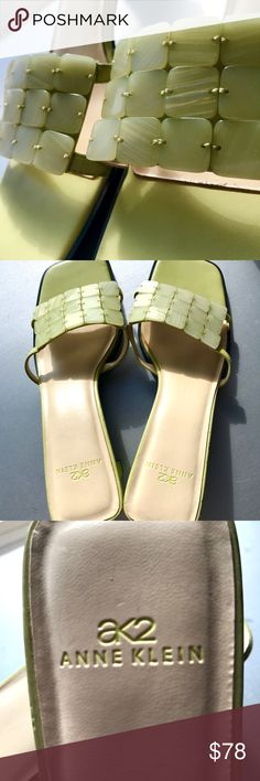 Anne Klein Kitten Heel Sandals💋 Kiwi Green❤️Worn once❤️Excellent nearly NEW❤️Adorable Block Heels❤️Pearlescent Lucite squares adore the tops of these shoes❤️Slide on with leather Strappy sides❤️Cushioned footbed❤️Awesome Beach Vacation Shoe Anne Klein Shoes Sandals