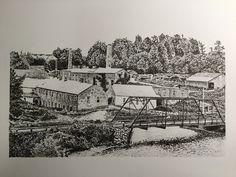 Pen and ink of the Barber papermill, 1910, Georgetown, Ontario  20 x 25 cm - James Colter