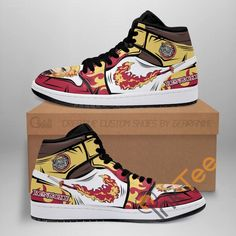Air Jordan Sneakers, Jordans Sneakers, Air Jordans, High Top Sneakers, Demon Slayer, Slayer Anime, Naruto Shoes, Anime Inspired Outfits, Painted Shoes