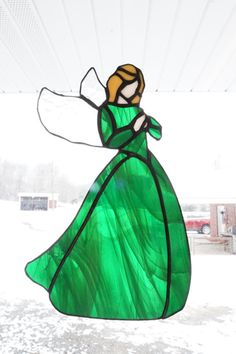 This beautiful 10 custom stained glass angel can be made in any color. See color chart for details. Red, Yellow, Orange and Pink can also be Stained Glass Tattoo, Stained Glass Cookies, Stained Glass Angel, Stained Glass Paint, Making Stained Glass, Stained Glass Ornaments, Custom Stained Glass, Stained Glass Birds, Stained Glass Christmas