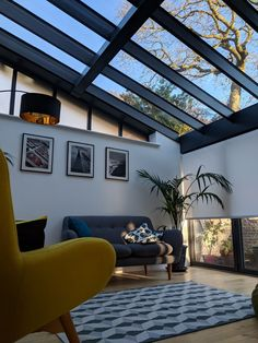Sun room with glass roof gives view of the sky and majestic oak tree above. Furnished with made.com sofas, rug and  floor lamp, plus small palm plants.