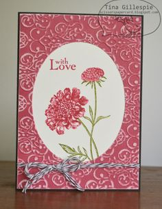 handmade card ... clean and simple design ... matching stamping and flowers with Primrose Petals color ... flowers in negative space oval ... framed with Coredinations panel embossed and lightly sanded ... love how the sanded embossed design echoes the flowers ... sweet card ... Stampin' Up!