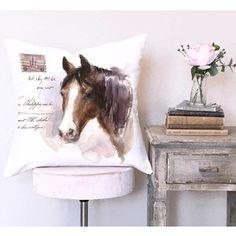 Farmhouse Decor Equestrian Decor Pastel Horse Pillow Cover
