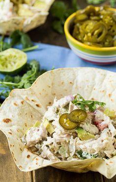 Jalapeno Chicken Salad - substitute plain Greek yogurt for the mayo salad salad salad recipes grillen rezepte zum grillen Fresh Vegetables, Fruits And Veggies, Kimchi, Fruit Plus, Eat This, Plain Greek Yogurt, Greens Recipe, How To Make Salad, Nutrition