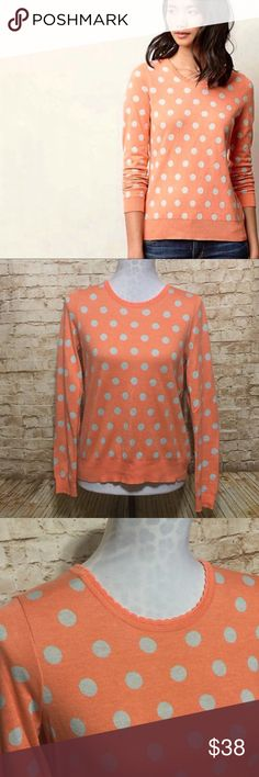"Anthropologie Polka Dot Sweater Super cute midweight sweater by Moth for Anthropologie. Coral with gray polka dots. Adorable scalloped Trim neckline. Long sleeves. Small keyhole with button at back. Excellent condition. Very soft and stretchy.   Measurements lying flat: • Bust: 18"" unstretched from armpit to armpit  • Length: 24"" Anthropologie Sweaters Crew & Scoop Necks"