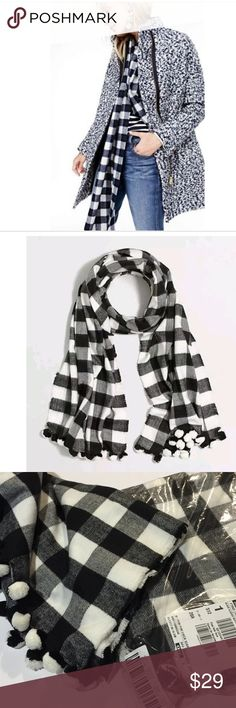 J Crew Black Classic Buffalo Pom Pom Scarf Brand new. Black and white plaid Pom Pom scarf. Measured 78 L X 24 W J. Crew Accessories Scarves & Wraps