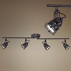 Hamilton 4-Light Swing Arm Bronze LED Track Fixture