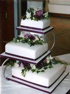 3 Tier Purple Wedding Cakes