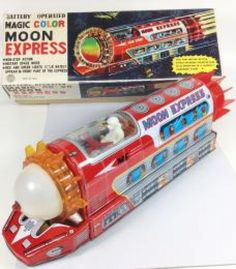 Antique Tin Toy Moon Express Train Battery Operated Taiwan made Rare JAPAN 382
