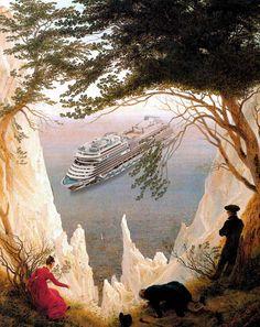 Caspar David Friedrich, Kreidefelsen auf Rügen (1818) – AIDAblu Kreuzfahrtschiff