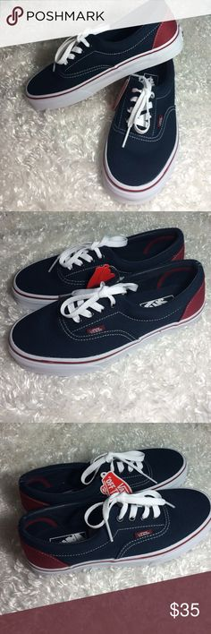 Woman / Mans Vans New navy Blue/maroon New Vans woman size 7 or a Man size 5.5  New with tags Vans Shoes Sneakers