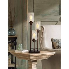 Libby 3-Light Industrial Console Lamp with Edison Bulbs - #Y9398 | LampsPlus.com