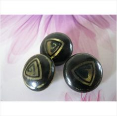 Set of 3 vintage celluloid bubble top buttons on metal base with detail 3/4 inch on eBid United Kingdom