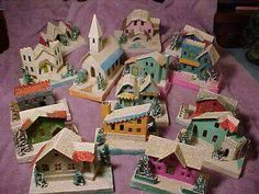 vintage weihnachten Antiques Attic: History of Dimestore Christmas Village Houses 1950s Christmas, Antique Christmas, Noel Christmas, Vintage Holiday, Vintage Christmas Crafts, Christmas Garden, Silver Christmas, Primitive Christmas, Fairy Houses