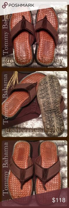 """RELAX Tommy Bahamas Caicos Sandal Collection Men's This Sandal made by Tommy Bahama is from his RELAX collection called """"Caicos,"""" featuring a rich brown leather weave throughout and a strong outer sole, canvas straps with signature Palm tree 🌴 for just that...relaxing. Purchased new, never wore. Men's size 8M. Basically New without the box. This retailed at $118 new. Great gift idea for that get-a-way or just because.  Comfort & style all in one!  Smoke-free, Pet-free home 🏡 Tommy Bahama…"""