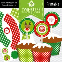 Printable Christmas cupcake wrappers and toppers by Twinsters, $3.20