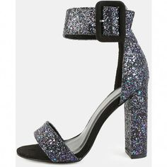 06639a0dbd7 Open Toe Chunky Glitter Heels BLACK ( 35) ❤ liked on Polyvore featuring  shoes