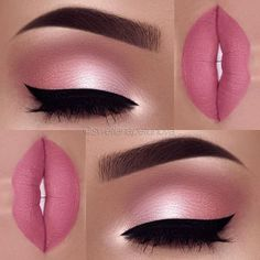 Makeup Idea In A Pink Color With Black Eyeliner A pink color is . - make up - Maquillaje Pink Makeup, Cute Makeup, Gorgeous Makeup, Pretty Makeup, Pink Wedding Makeup, Amazing Makeup, Pink And Black Eye Makeup, Mac Makeup Looks, Orange Makeup