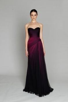 dark red ombre dresses - Google Search  Would be awesome if it was tea length for bridal party