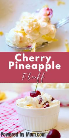 Looking for an easy but oh so delicious dessert that takes no time at all to put together? Better yet you don't need to turn on the oven? Look no further than this yummy Cherry Pineapple Fluff with Coconut. It's a great summer dessert but we enjoy it any time of the year. Make sure to click on the image to get the recipe now! Unique Desserts, Summer Desserts, Easy Desserts, Delicious Desserts, Yummy Food, Ty Food, Light Desserts, Donut Recipes, Pastry Recipes