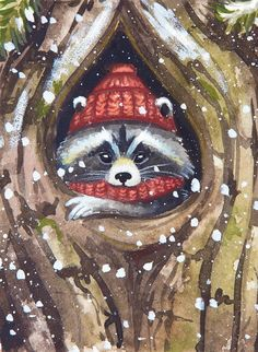 Otkrыtki Эmmы Mаlяvko/ Postcards by Ema Malyauka/ Otkrыtki dlя postkrossingа/ Postcards for postcrossing/ Christmas Paintings On Canvas, Christmas Canvas, Christmas Art, Winter Painting, Winter Art, Ema, Animal Paintings, Painting Inspiration, Painted Rocks