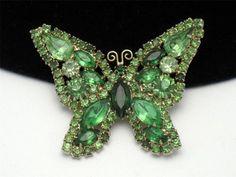 Vintage Signed Weiss Peridot Rhinestone Figural Butterfly Brooch Pin  http://www.ebay.com/itm/Vintage-Signed-WEISS-Peridot-Rhinestone-Figural-Butterfly-Brooch-Pin-/181076756576?pt=Vintage_Costume_Jewelry=item2a29040860
