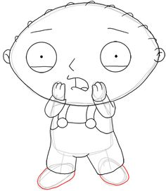 Step 15 How to Draw Stewie from Family Guy : Step by Step Drawing Lesson