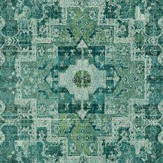 148659 chalk printed eco texture non woven wallpaper Oriental ibiza marrakech kelim carpet Intense emerald green