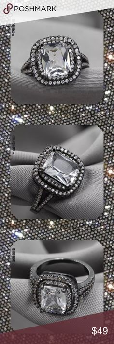 JUST IN 🆕Austrian Crystal Black Gold Filled Ring Style:Claw Setting Size: 7 Metal: Black Gold Filled Metal Purity: 18k Main Stone: Clear Crystal  Color:Clear and Black Material:Gold Filled Main Stone Size:8 mm * 10 mm Around Stone Size:2mm * 2mm Glam Squad 2 You Jewelry Rings