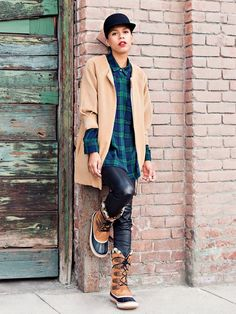 """I paired them with leather pants because I love the cool factor leather pants provide while still keeping you warm—same with the felt hat and flannel shirt. That's how I..."