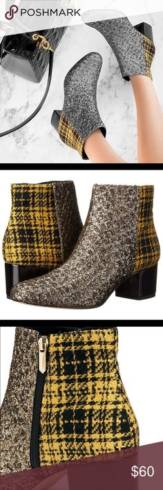 """Sam Edelman Edith Glitter and Plaid booties Injected with party appeal, these Edith boots from Sam Edelman take winter footwear up a notch with simultaneous woollen appeal. Backed with a tweed counter in classic plaid, this ankle pair is heritage-meets-contemporary for modern-day finesse. Instantly uplifting any set with celebratory vibes, these are finished with a leather-bound block heel for well-grounded traction. Product measures: Heel 5.5cm (2.2"""") True to size Sam Edelman Shoes Ankle…"""