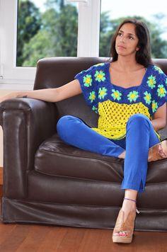 blusa cuadrados tejida en crochet verano 2013