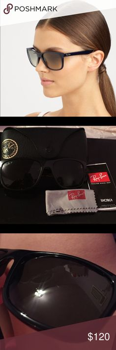 Ray-ban sunglasses BRAND NEW WORN ONCE. Black womens swuare ray bans sunglasses. Comes with original case,cleaning cloth, and authenticity certificate. Zero scratches! Ray-Ban Accessories Sunglasses