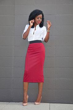 Button Down Shirt + Contrast Waist Midi Skirt