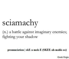 sciamachy (n.) a battle against imaginary enemies, fighting your shadow